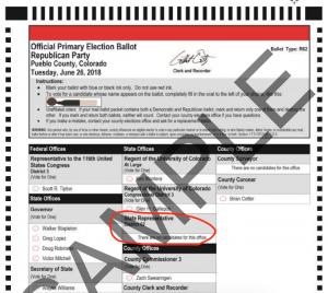 Pueblo County Sample Republican Primary Ballot 2018