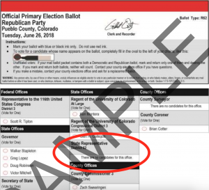 Pueblo County Republican Sample Primary Ballot