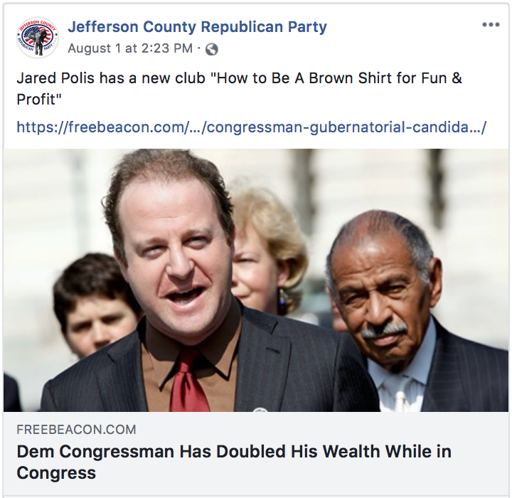 "Jefferson County GOP refers to Polis as a ""Brown Shirt"""