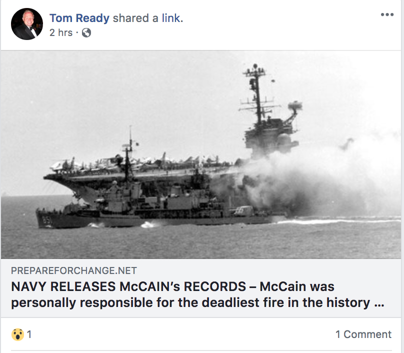 Tom Ready McCain fake news FB post