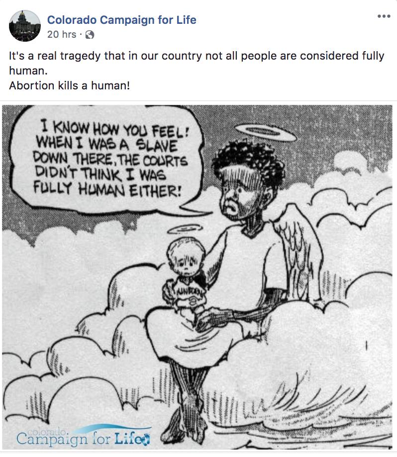 Colorado Campaign For Life Racist Cartoon