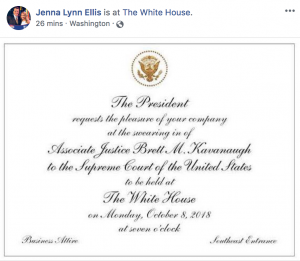 Jenna Lynn Ellis Kavanaugh Swearing-in Ceremony Invite