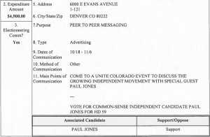 Unite Colorado campaign expenditure report Paul Jones HD59