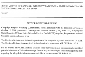 SOS Matt Arnold Unite Colorado complaint review