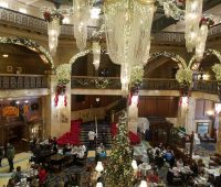 Brown Palace Hotel lobby holiday decorations