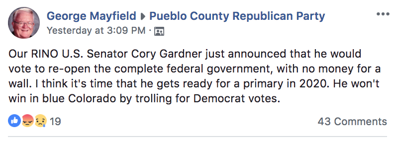 Pueblo GOP Treasurer: Primary Gardner in 2020