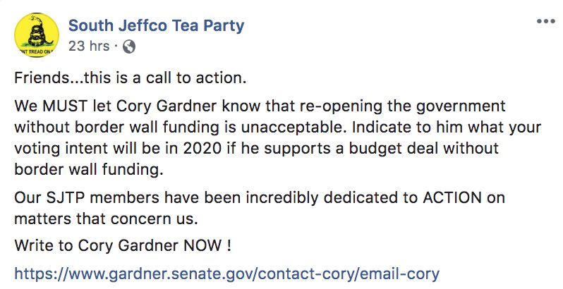 South JeffCo Tea Party Mad at Sen. Gardner