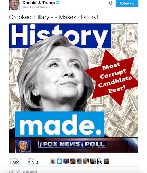 Anti-semitic imagery tweeted by the Trump Campaign in 2016.
